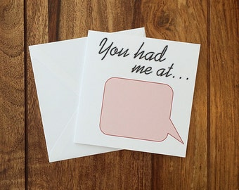 Personalised Anniversary Card, Valentines day Card, I Love You Card, You Had Me At