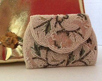 Vintage Coin Purse Beaded Mid Century Modern Pattern c. 1950s