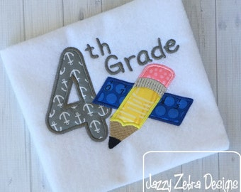 4th Grade Pencil and Ruler Appliqué Embroidery Design