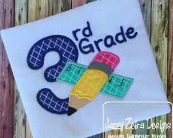 3rd Grade Pencil and Ruler Appliqué Embroidery Design
