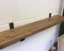 Handmade Solid Kiln Dried Oak Shelves with Handmade Steel Brackets