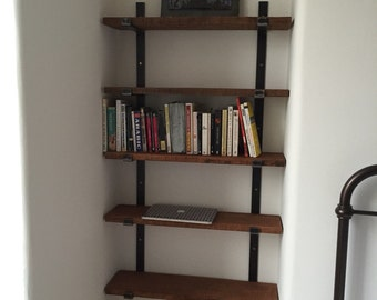 Reclaimed Solid Wood Shelving System 5 Tier on our Unique Handmade Bracket System