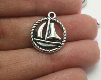 BULK 50 Sailboat Charms, Silver Boat Charms, Nautical Charms, Beach Charms, Bulk Charms (5-1035)