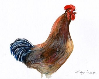 Original Aquarell, Painting, Watercolor, Handpainted, 19,5 X 29,5 cm, ( 7,6 x11,6 inch). NOT a print. Tatiana-Art
