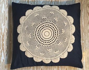 Navy blue doiley cushion