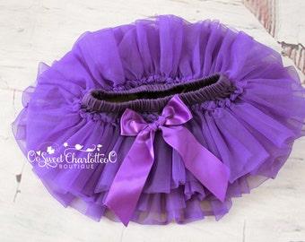Baby Purple TUTU Bloomers,Ruffles All Around Bloomer,Chiffon Ruffle Diaper Cover,Newborn Photo Prop,Baby Bloomers,Baby TUTU Skirt