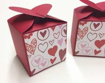 Red Favor Boxes Red Favor Box Red Wedding Favor Valentine Favor Box Velentine Favors Valentine Wedding