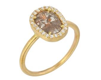 Natural Rose Cut Diamond Slice, Diamond Halo Engaegement Ring, 14kt Yellow Satin Gold Ring. Handmade by Gevani