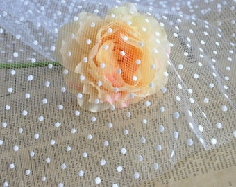"Lace Fabric Little Dots Veil  Wedding Fabric Dress Veil Custom Headwear Supplies 55"" width 1 yard"
