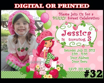 Strawberry Shortcake Invitation  Photo Birthday Invite  You Print Digital File OR Printed