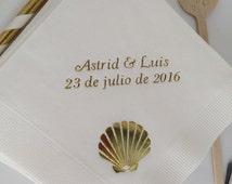 50 Personalized Sea Shell Beach Monogram Cocktail Beverage Napkins Wedding Birthday Nautical Beach Ocean Shell Theme Luncheon Dinner Towel