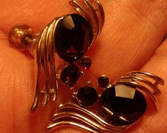 Ruby red & silver tone earrings