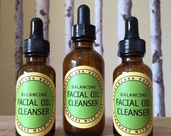 Organic Facial Cleansing Oil // Balancing Face Oil Cleanser // Vegan Anti Aging Skincare  for Dry and Combination Skin 1.5 + 2.5 oz