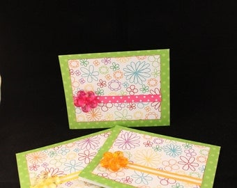 Handmade Greeting Card - Pink, Yellow & Orange