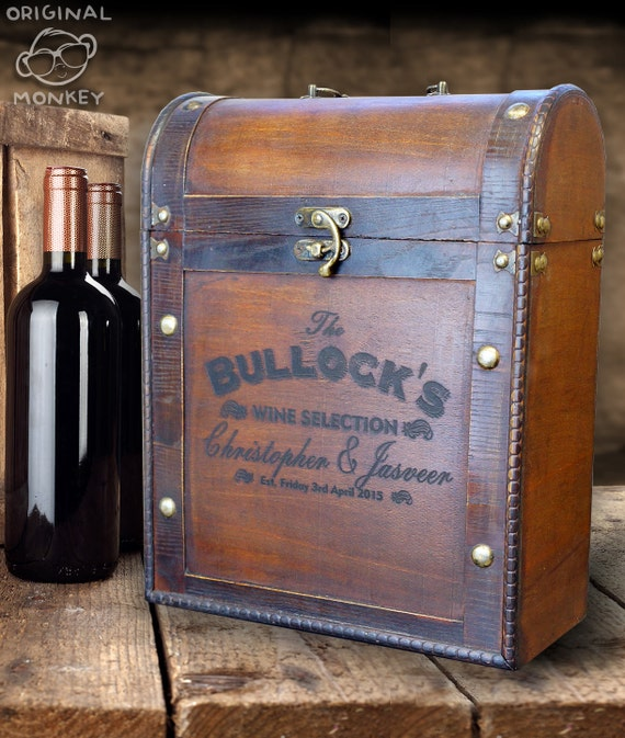Wedding Gift Wine Box Uk : Wedding Gift Personalised Wine Box Antique Vintage style Gift For The ...