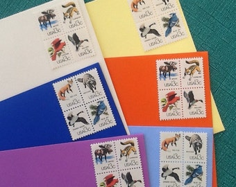 Woodland Animal Postage Stamps, Unused Nature themed Vintage Postage 24 pieces