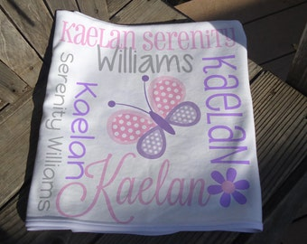 Personalized Butterfly Baby Blanket - Butterfly Receiving Blanket - Butterfly Baby Name Blanket - Newborn Swaddling Blanket - Photo Prop
