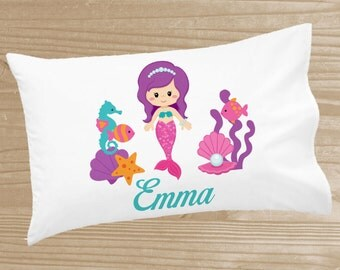 Personalized Mermaid Pillowcase - Pillowcase for Girls - Mermaid Pillow Case - Custom Mermaid Pillow Slip - Under the Sea Pillowcase