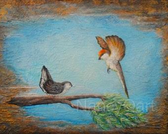 Birds in flight wall art, modern bird artwork, Flying bird painting, Canvas bird art, Original Bird painting by Nancy Quiaoit at NancyQart.