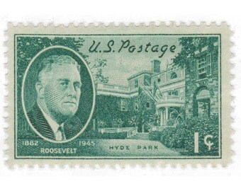 1945 3c FDR and Hyde Park - 10 Unused Vintage Postage Stamps - Item No. 930