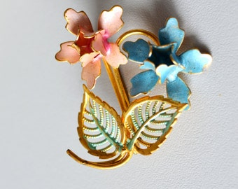 Vintage floral Brooch, Art Nouveau Pin , Bridal Wedding, elegant brooch, Mid Century Brooch, Summer Finds, pink blue,