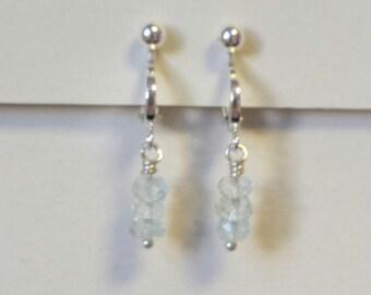 Sterling Silver Clip on Aquamarine Earrings, Serenity Blue Earrings, Gemstone Earrings, Gift for her, March Birthstone Earrings