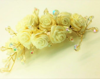 Cream Roses & Irridescent Bead Large Gold Hair Comb
