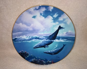 "1991 Bradford Exchange ""Traveler of the Sea"" Gray Whale Plate By Anthony Casay"