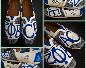 Custom painted Sorority/Beta Phi Zeta Toms. Designed and personalized just for you!