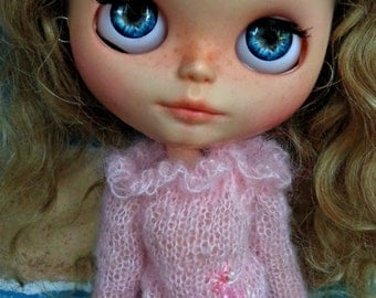 On Sale - Blythe Doll OOAK -  Pale Pink mohair jumper with frill collar