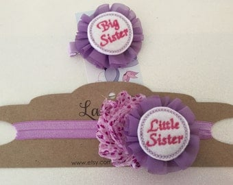 Big Sister clip & 2 Little Sister Headbands