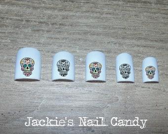 Sugar Skull Nail Decals - Day of the Dead - Dia de los Muertos - Halloween - Nail Art Stickers - 25 Designs