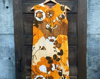 Adorable Vintage 60's Mustard Mod Floral Print Sleeveless Shift Dress size medium