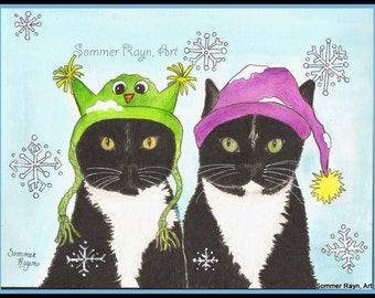 Winter Cats, Black and White kitties in Hats, Christmas, Snow-  Card or Print, Drawing with Watercolor accents, Item #0418a