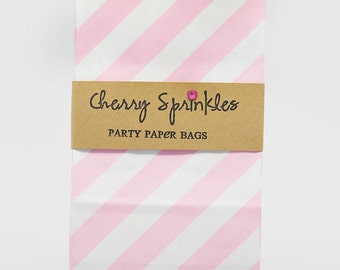 PINK Diagonal Sack -SOS Gift bag for Pretty Packaging -Christmas Party -Valentines Party Decor -Set of 10 *Treat Sacks *Loot Bags *Snack Bag