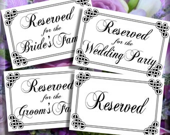 Celtic Love Knot Printable Reserved Wedding Table Signs Instant Download 5 x 7 Set of 4