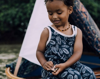 Falling Feather Navy Harlem Baby, Toddler, Child Romper