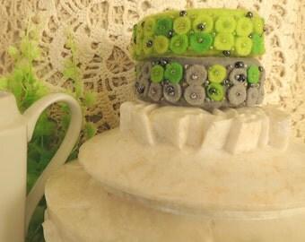 Felt Bracelets Set of 2, Boho Double Bracelet, Felted Bracelet, Birthday Gift for her, green grey, Felt Jewellery, Felt Boho Jewelry, OOAK