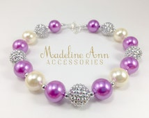 Mauve Glam Chunky Bubblegum Bead Necklace for Girls, Girls Sparkly Purple Necklace, Bubblegum Necklace, Plum and Silver Baby Necklace