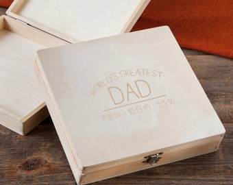 Personalized World's Greatest Dad Keepsake Box - Wood Keepsake Box for Dad - Men's Cigar Box - Gifts for Dad - Father's Day - GC1457 DAD