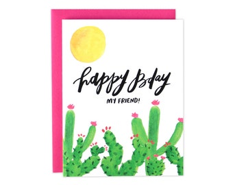 Cactus Birthday Card, Cactus Bday Card, Watercolor Bday Card, Cactus, BFF Bday Card, Friend Birthday Card, Rad Birthday Card, Sunshine Bday