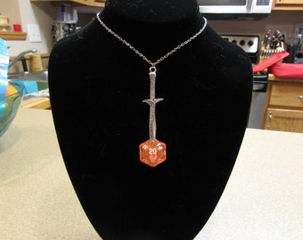 Sword in the Dice D20 Necklace Clear Peach