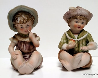Antique Piano Babies - Collectible  Porcelain Figurine - Nursery Decor - Shabby Chic Decor - French Country Decor