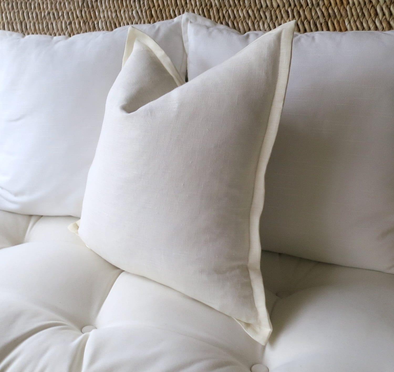 Ivory Linen Pillow Cover f White Pillow Cover Flange Edge