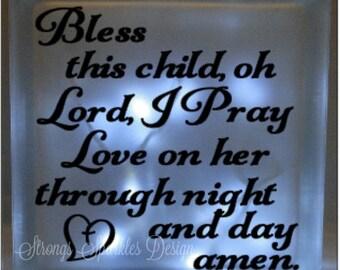 Bless this child prayer vinyl decal DIY for glass block