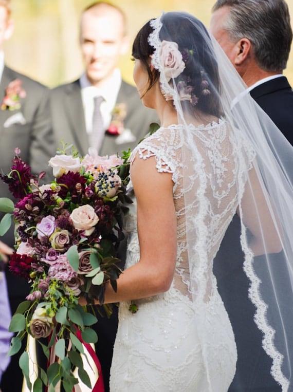 Lace Wedding Veil, Drop Veil, Veil, Lace Bridal Veil, Lace Mantilla , Drop Veil, Cathedral Veil,  Alencon Lace- ADDISON VEIL