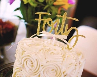 40th birthday cake topper - gold - cake topper - Forty birthday #1010