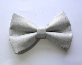 Metalic Silver Bow Tie For Boy/Baby/Teen/Adult/With Adjustable strap/Clipon