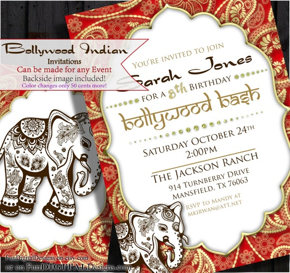 Bollywood Invitation Indian Invite Middle Eastern
