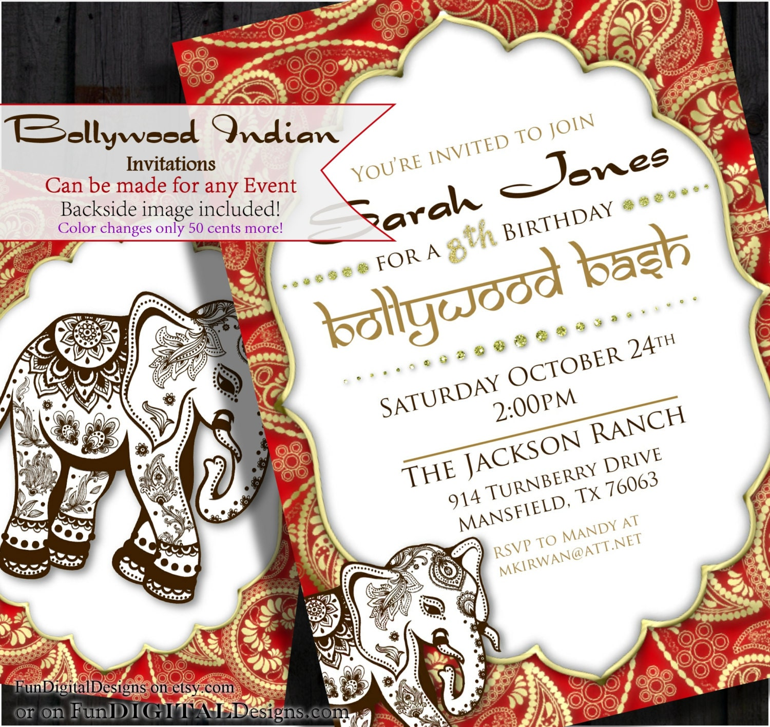 Bollywood Invitation Indian Invite Middle Eastern – Bollywood Birthday Card